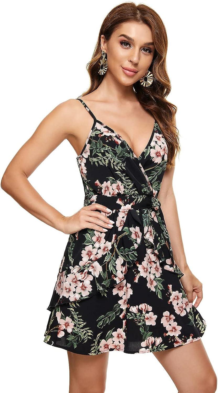 Women's Summer Sleeveless V Neck Ruffle Dress Floral Skirt Mini Swing Party Bedroom Home Stay Slip Dress with Belt