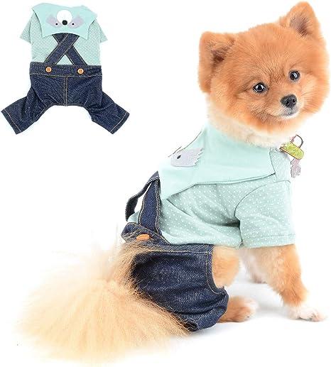 SELMAI Chihuahua Ropa para Perros Pequeños Niña Niño Verano Lindo Mapache Camisas de Lunares Pantalones con Pechera Trajes para Gatos Salchicha ...