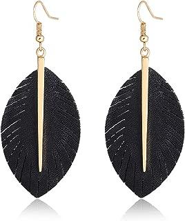 Leather Earrings Lightweight Faux Leather Leaf Feather Earrings Teardrop Dangle Drop Earrings for Women Girls