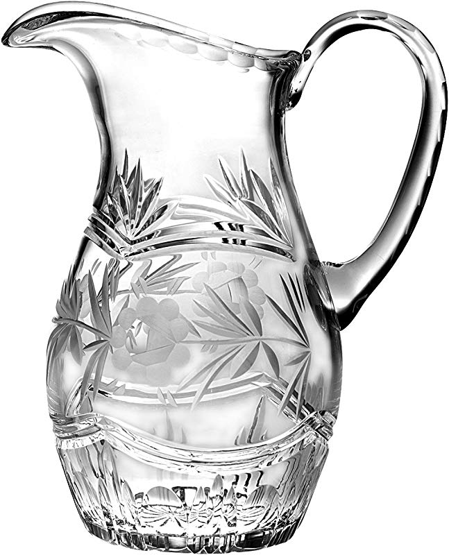 Barski Hand Cut Mouth Blown Crystal Pitcher With Handle With Rose Design 54 Oz Made In Europe