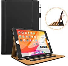 Hansong Leather Folio Multiple Viewing Angles Card Pocket Stand Case for Apple iPad Air - Black