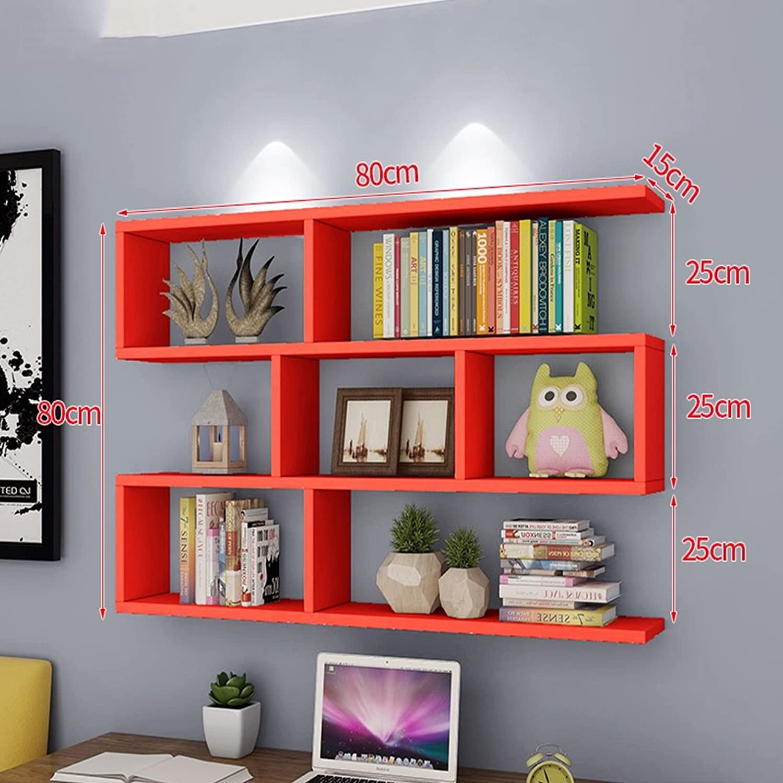 WAN SAN QIAN- Creative Wall Mount Bookshelf Living Room Modern Simple Wall Bookshelf Cabinet Wall Shelves 80x80x15cm Shelf ( color   A )