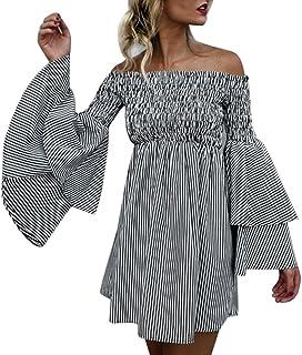 Dress for Women,JFLYOU Polka Dot Print 3//4 Flare Sleeve Cross Ruffles Swing Casual Mini Dress