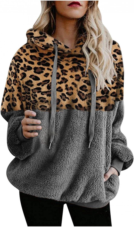 Sweatshirts for Women Casual, Womens Fuzzy Fleece Jacket Leopard