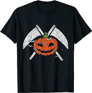 Double faucheuse amusante et effrayante pour Halloween avec citrouille et chauve-souris T-Shirt