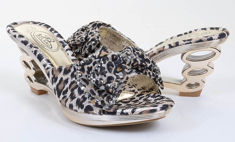 Fourever Funky Leopard Jeweled Cut-Out Strappy Slide Open-Toe Sandal Heels DW1133