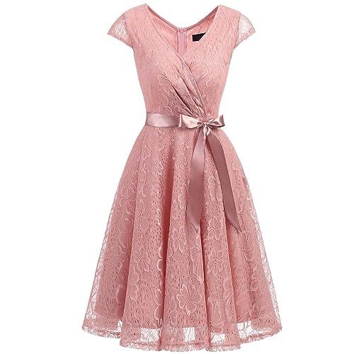 1b9a93d3f15b2 Dresstells Elegant Spitzenkleid Knielang V-Ausschnitt Brautjungfernkleid  Cocktailkleid Abendkleider