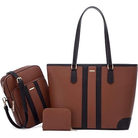 LOVEVOOK Damen Handtasche Schultasche Handtaschen Gross Tasche Leder Shopper Groß Taschen Set Bag Shopping Bag für Mutter Liebhaber Freund, Beige Braun