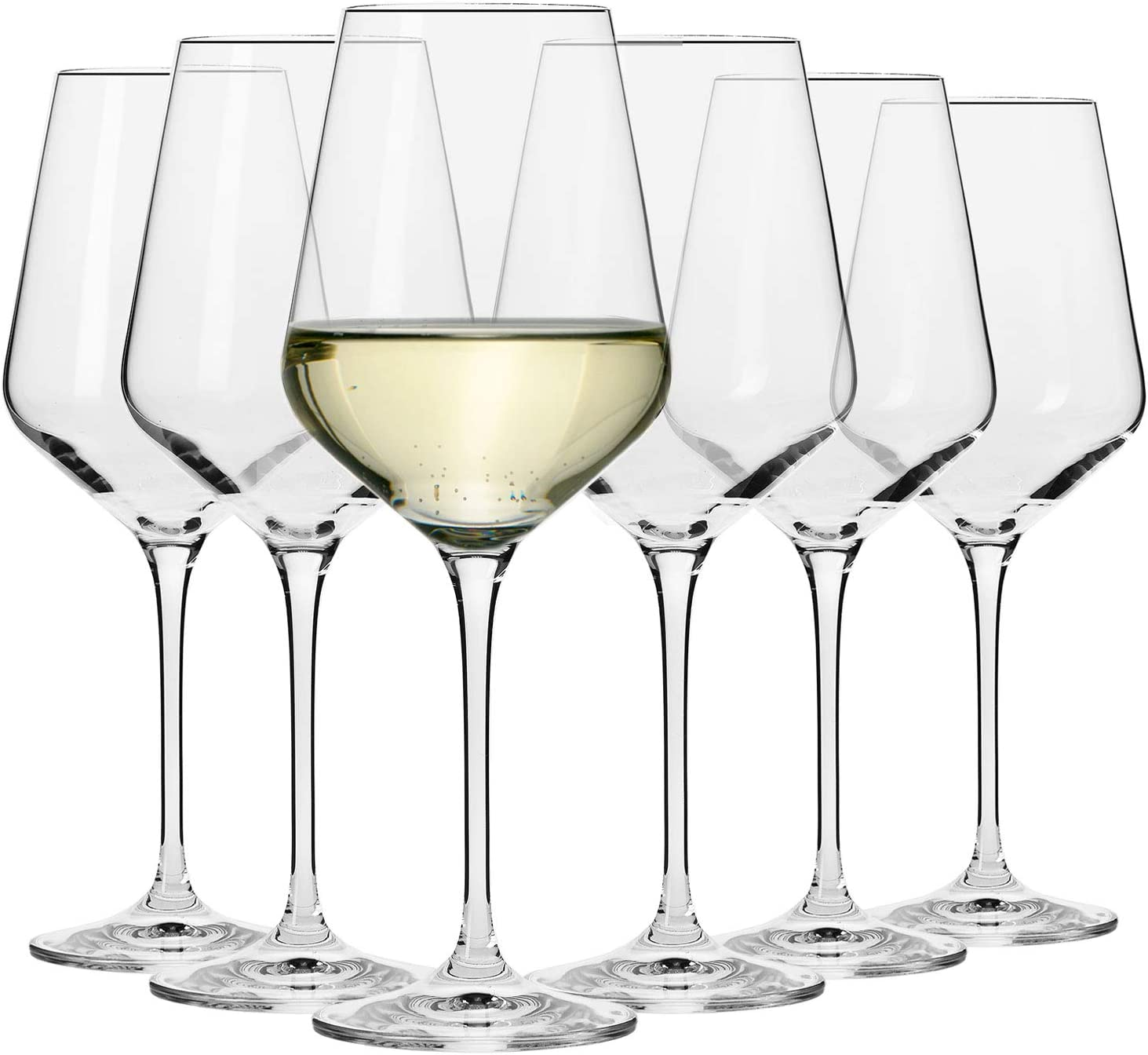 KROSNO Large White Wine Glasses | Set of 6 | 13.2 oz | Avant-Garde Collection | Crystal Glass | Perfect for Home, Restaurants and Parties | Dishwasher and Microwave Safe