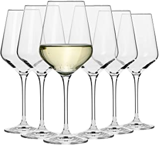 Krosno Large White Wine Glasses | Set of 6 | 390 ML | Avant-Garde Collection | Crystal Glass | Perfect for Home, Restauran...