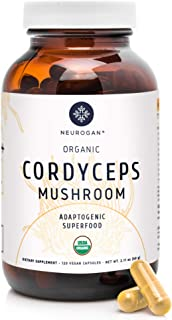 Neurogan Cordyceps Capsules - 1000mg Organic Cordyceps Extract for Immune Support, Improved Energy, Stamina & Oxygen Utilization - Vegan, Non-GMO, Gluten Free, 120 Capsules
