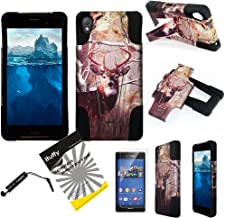 For Verizon Sony XPeria Z3V / ITUFFY(TM) 3items Combo: LCD Screen Protector Film + Stylus Pen + 2Tone Design (Dual Layer- Plastic Cover + Soft Rubber Silicone) Built-in KickStand Impact Resistance Tuff Armor Case (Tree Deer Camouflage - Black)