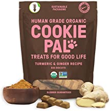 Cookie Pal Human Grade Dog Treats, Turmeric and Ginger Recipe, Organic Non-GMO and Simple Ingredients, 10 oz Bag