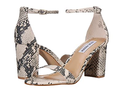 Steve Madden Exclusive Declair Block Heeled Sandal (Natural Snake) High Heels