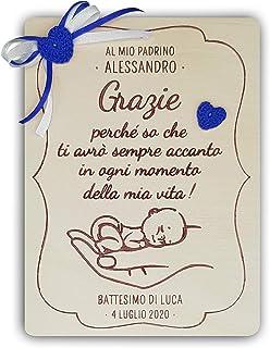 Crociedelizie, Idea regalo madrina padrino ricordo ringraziamento battesimo targa personalizzata personalizzabile con nome...