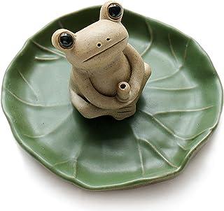 NAGU 100% Handmade Ceramic Stick Incense Burner Holder,Small Frog Incense,Lotus Leaf Tray,Mini Cute Animal Statue Home Inc...