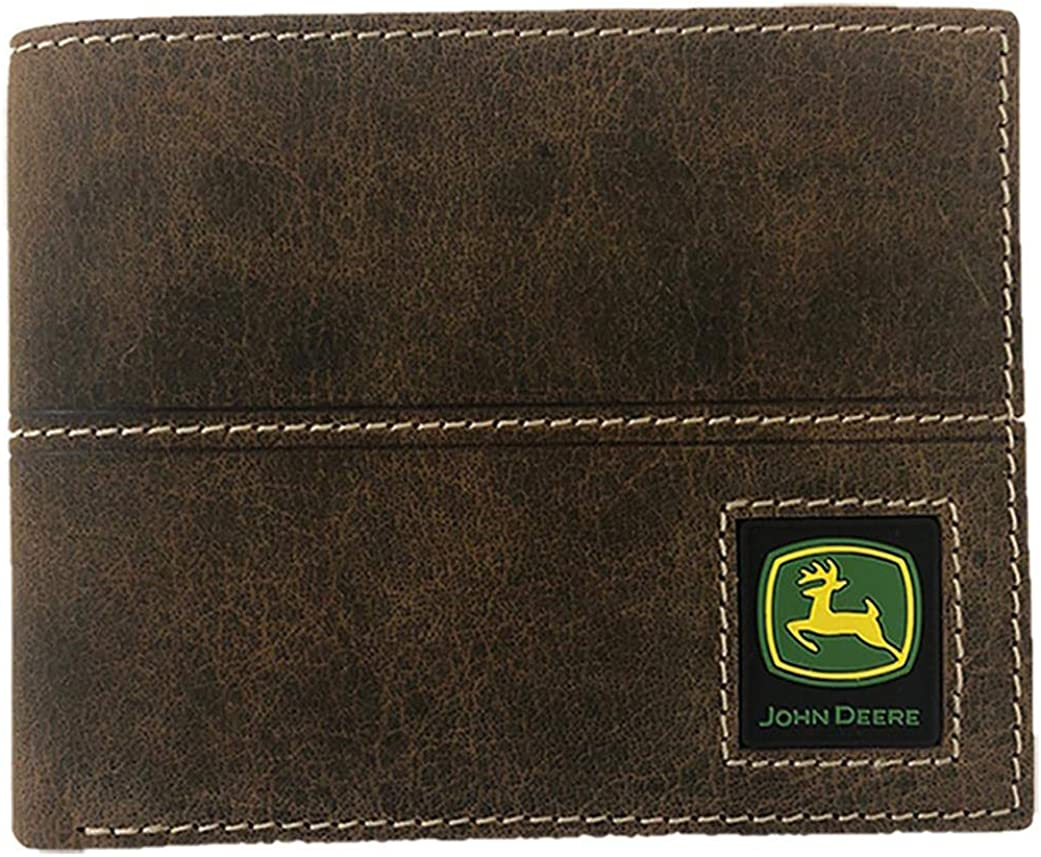 John Deere Distressed Leather Bifold, Trifold, Money Clip Wallets