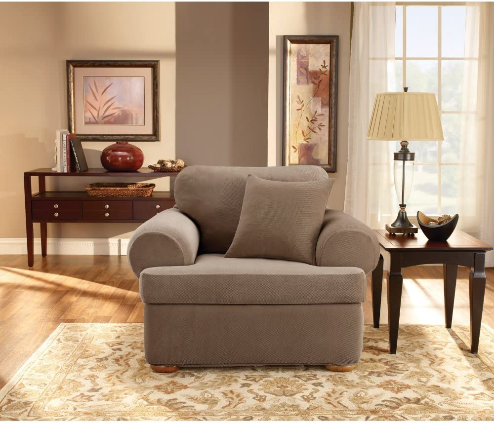Sure Fit Stretch In a popularity Sales for sale Pique T-Cushion Slipcover Two Chair Piece