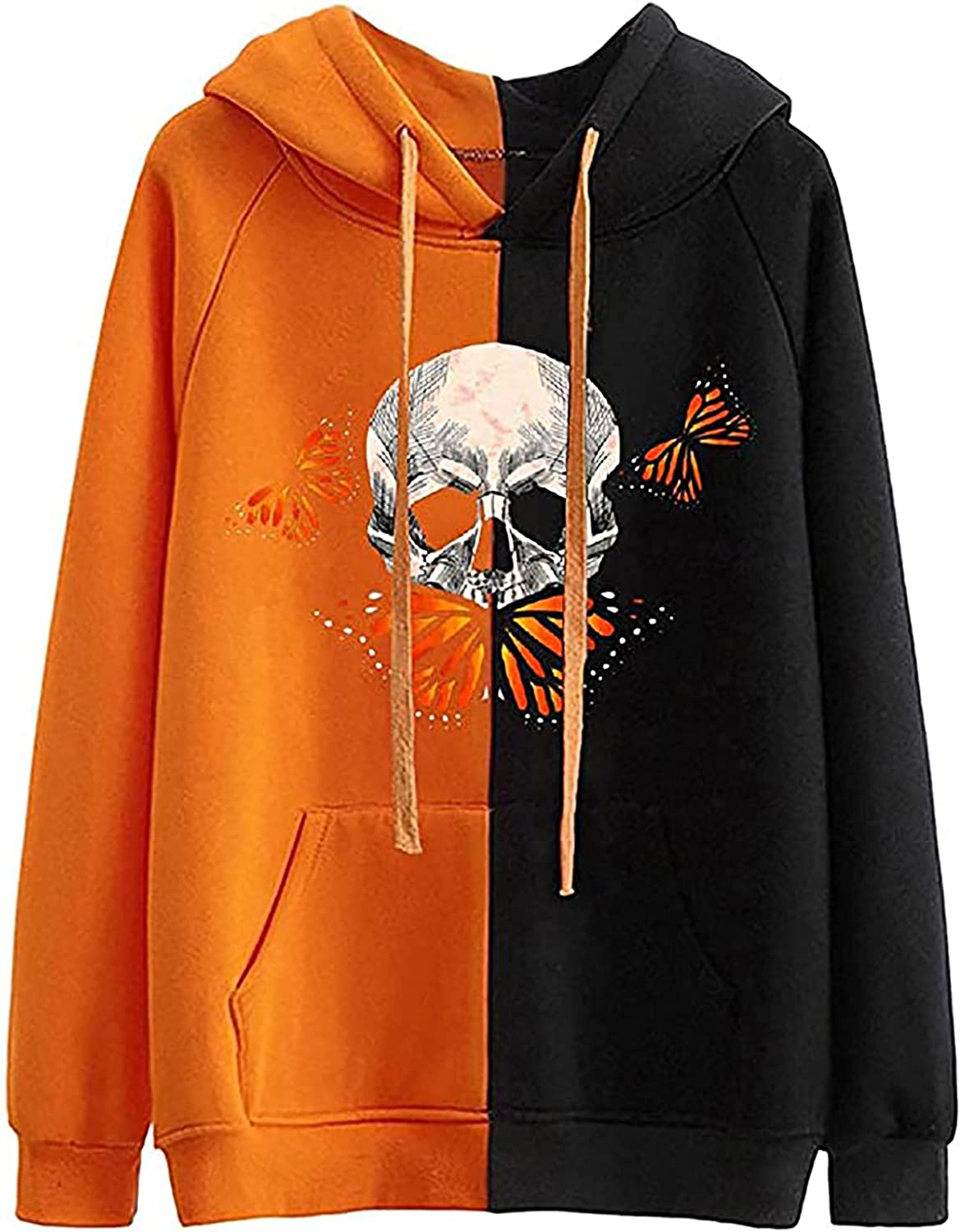 Pumpkin Skull Print Hoodies For Women Halloween Two-Color Stitching Long Sleeve Funny Sweatshirt Tops With Pockets