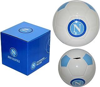 nemesi Posacenere Rotondo In Ceramica con Logo e Scritta Ssc Napoli Sulla Circonferenza e Grafica Del Pallone AllInterno.