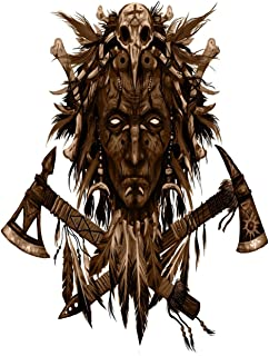Eaiizer Poster Wall Art Print The Head Shaman American Indian Chief Two Crossed Tomahawks 18x27 Inches Artwork for Home Bedroom Decor