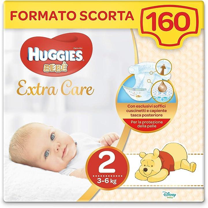 Pannolini - huggies extra care bebè taglia 2 (3-6kg), 4 confezioni da 40 pannolini, 4380 gr 2567021