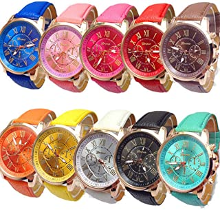 RBuy 10 Assorted Men Women Teens Leather Strap Analog Quartz Dress Watches Wholesale