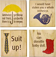 HIMYM Color Coasters: (by Brindle Designs): Gift Set of 4 Real Wood Drink Coasters. Yellow Umbrella, Blue French Horn, Ducky Tie Suit up and Ted's Red Cowboy Boots. How I Met Your Mother Fan Gift.