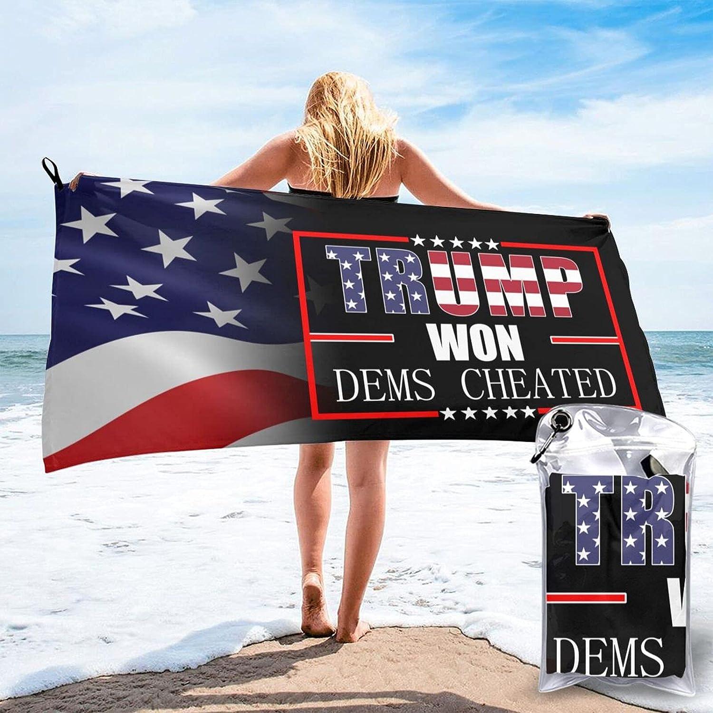 Trump Won Dems Cheated Very popular Microfiber Beach B Towel Quick Max 85% OFF Travel Dry