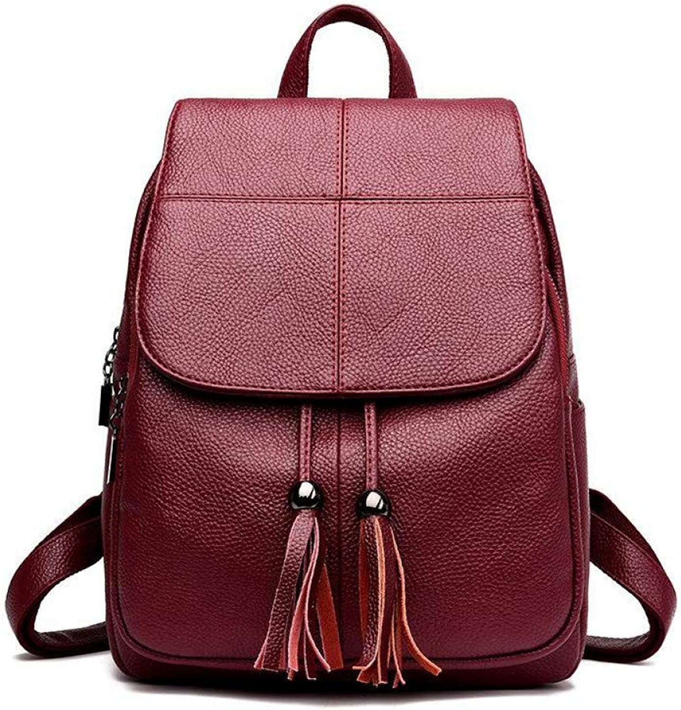VITANB 11% Women Leather Backpacks Female Shoulder Back Pack Tassel Ladies Large Capacity Travel Bagpack Vintage Shcool Backpack for Girls