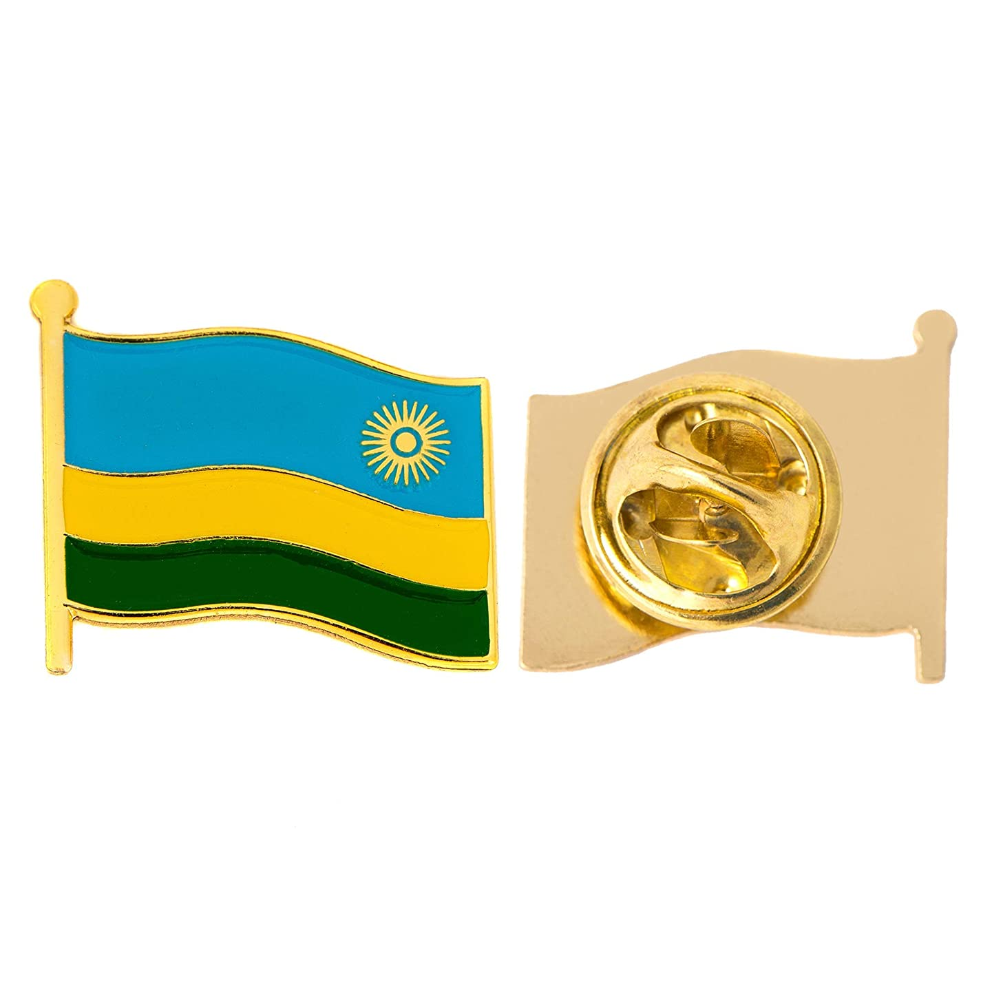 Rwanda Country Flag Lapel Pin Enamel Made of Metal Souvenir Hat Men Women Patriotic (Waving Flag Lapel Pin)