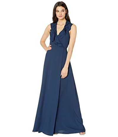 WAYF The Riley Lace-Up Back Wrap Gown (Navy) Women