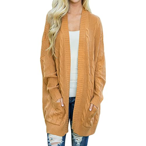 64c31fe1e3 Shawhuwa Womens Plus Size Open Front Knit Long Cardigan Sweater Pockets