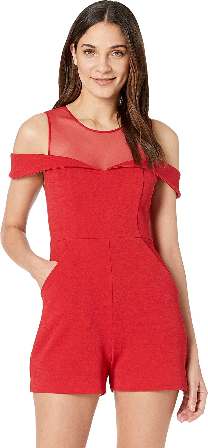 BCBGeneration Women's Mesh Yoke Cold Shoulder Knit Romper
