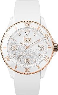 Ice-Watch - Ice Crystal White Rose-Gold - Montre Blanche pour Femme avec Bracelet en Silicone - 017248 (Medium)