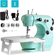 Portable Sewing Machine WADEO Mini Sewing Machine for Beginners, with Extension Table, Foot Pedal, 2-Speed Double Thread f...