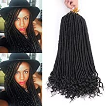 20 Inch Goddess Faux Locs Crochet Hair 6Packs Straight Goddess Locs with Curly Ends Synthetic Crochet Hair Braids for Black Women(1B#)
