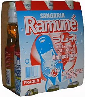 Sangaria Ramune Marble Soft Drink Orange Flavor,6.76 fl oz, 6 Pack