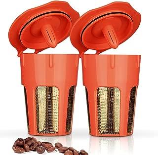 BRBHOM 2 Pack 24K Gold Reusable 2.0 K-Carafe Refillable K Pods Reusable Carafe Filter for Keurig Series 2.0 K250 K300, K400, K500 Series