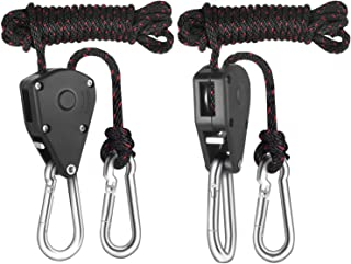 Floro Rope Ratchet Grow Light Hangers, 7 Feet 7 Inches Rope Length, Easy Way to Raise and Lower Fixtures, Heavy-Duty Braided Rope Holds Up to 150 lbs, 2 Pack