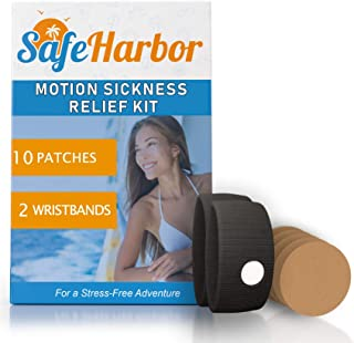 SafeHarbor Motion Sickness Relief and Anti Nausea Kit for Your Cruise Essentials   2 Motion Sickness Bands 10 Natural + Herbal Relief Patches  Works for Children and Adults   Helpful E-Book Included