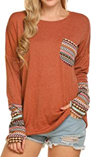POGTMM Women's Fall Long Sleeve Tops O-Neck Patchwork Basic T-Shirts Blouse Tunic Tops with Thumb Holes