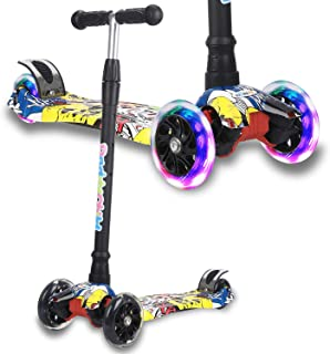Kick Scooter for Kids, 4 Adjustable Height, Lean to Steer with PU Light Up Wheels, Training Balance Toys for Children from...