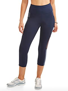 Avia Women's High Rise Colorblock Premium Flex Tech Compression Legging Capri Pants (Blue Cove, Large L, 12-14, 28W x 22L)