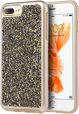 Dream Wireless Funda para iPhone 7 Plus iPhone 6 Plus/iPhone 8 Plus Carcasa con Brillos y Doble Protector de Plástico con Diamantes, Color Dorado