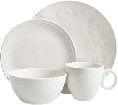 Gibson Elite Alemany Round Dinnerware Set, Service for 4 (16pcs), Embossed White