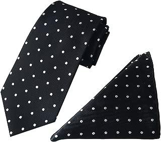 MENDENG Men's Mixed Color Polka Dot Tie Pocket Square Set Neckties Handkerchief