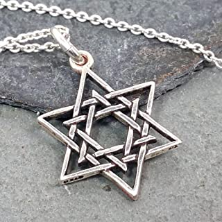 Woven Star of David Charm Necklace - 925 Sterling Silver, 18