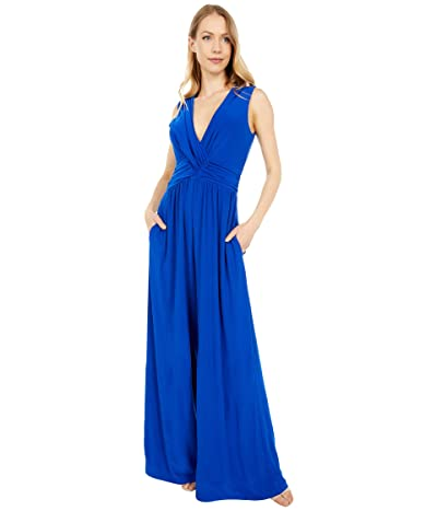 Vince Camuto Jersey Shirring Wrap Front Jumpsuit (Royal) Women