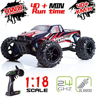 EP EXERCISE N PLAY RC Car, 1/18 Scale High Speed Remote Control Car, 2.4Ghz Off Road RC Trucks with Two Rechargeable Batteries, Electric Toy Car for All Adults & Kids